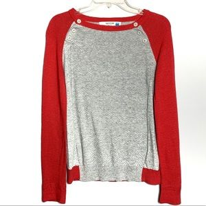 Anthro Sparrow Coral/Grey Sweater Sz M A-78